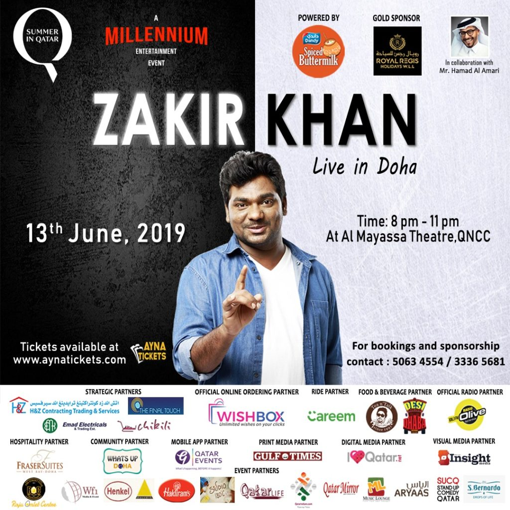 Zakir Khan live Comedy Dhamaka - 13th June @ Qatar National Convention Centre - QatarIndians.com
