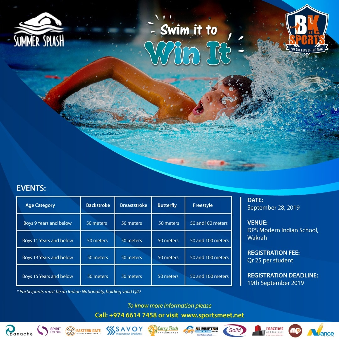 Summer Splash 2019 - Invitation to Swimming talents from the Indian community in Qatar to participate and win - QatarIndians.com