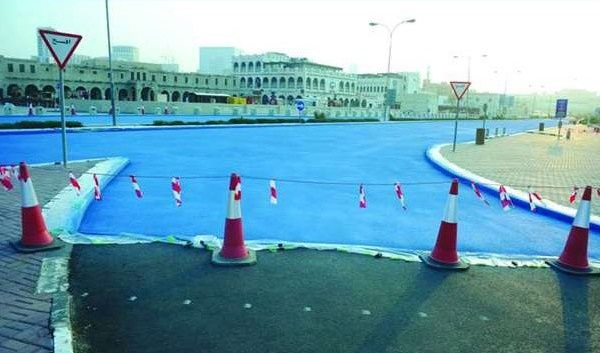 Unique experiment to reduce street heat by painting it blue - Abdullah Bin Jassim Street in blue colour