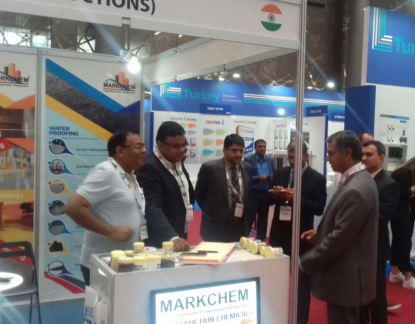 Indian Ambassdor P Kumaran interacting with one of the Indian exhibitors.