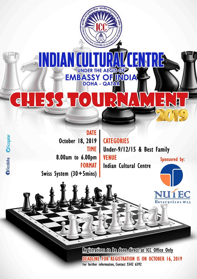 Chess Tournament - 2019 | Indian Cultural Centre, Doha - Qatar