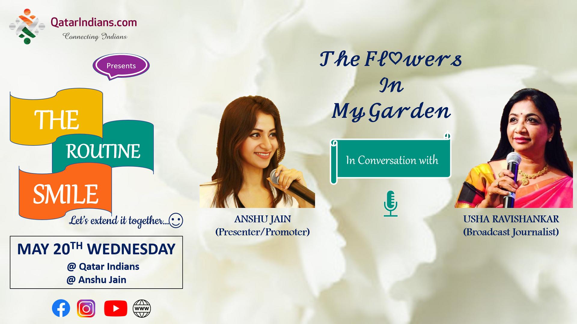 "Usha Ravishankar ""The Routine Smile"" - Anshu Jain in Conversation with Mrs. Usha Ravishankar, the champion communicator, powerful orator   QatarIndians.com"